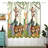 Animal Jungle Monkey Tiger Giraffe Lion Elephant Curtains for Children Bedroom,Eyelet Blackout Curtains for Nursery/Short Window for Home Decor,54£¨H£©x 55(W) in,2 Panels