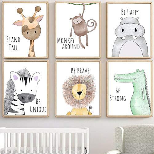 Lorcoo Cuadros Infantiles, Juego de 6 pósteres para habitación de bebé laminas para cuadros infantiles animales, DINA4 sin marco, Decoración para niñas y niños