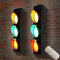 信号機ランプ緑LEDライト壁ランプ信号灯赤ランプ壁屋内スタジオライトランプ壁2パックリモートスイッチ付き