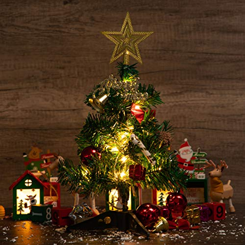 12'/30cm Tabletop Christmas Tree - DIY Table Top Christmas Trees with Lights String Lights, Hanging Ornaments and Plastic Base for Christmas Decoration for House, Office ,Classroom (Yellow)