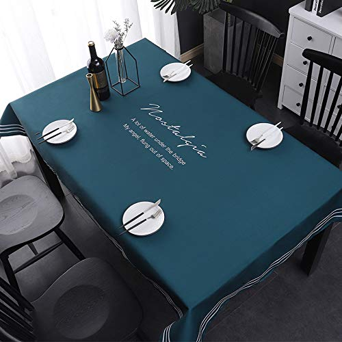 HTUO Tablecloth Christmas Decoration Cotton Polyester Rectangle Table Cloth Cover Dining Fresh Table Cloth Dust Proof Table Cover Hotel Banquet Party Meeting Room 110 * 170cm