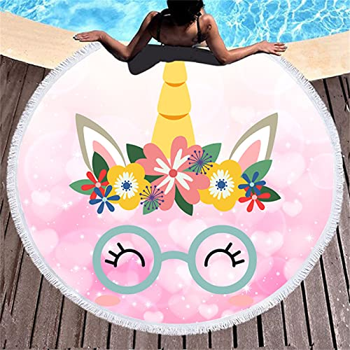 Toalla De Playa Redonda con Patrón De Impresión En Color, Toalla De Baño De Microfibra con Patrón De Impresión Digital, Alfombra De Playa Absorbente De Secado Rápido 150 * 150cm