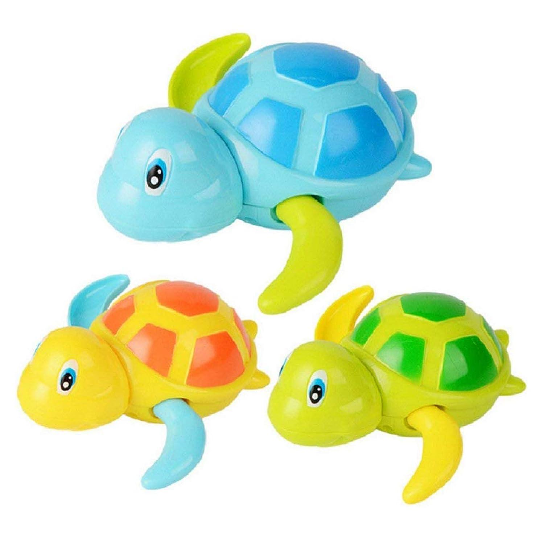 Gaoominy 赤ちゃんがお風呂の時遊んでいる玩具 バス水槽/プールのおもちゃ かわいいタートル 動物のおもちゃ 子供のための、3パック
