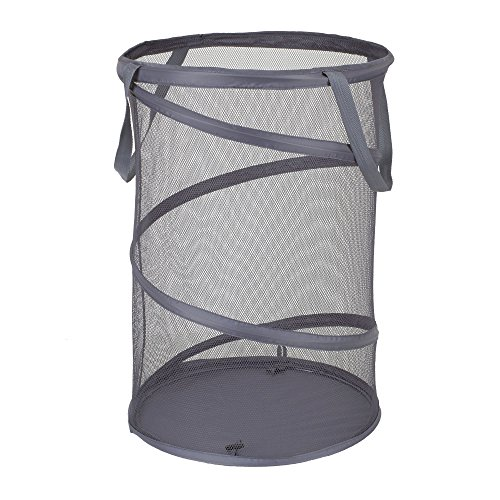 Household Essentials 2027-1 Pop-Up Collapsible Mesh Laundry Hamper | Charcoal