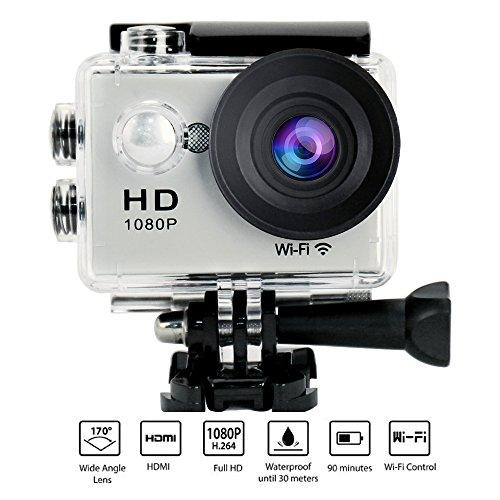 Yuntab W9 Action WIFI Caméra, angle de 170 °, Full HD 1080P HDMI TV Port 30M étanche, enregistreur vidéo numérique parfait de 12 mégapixels pour sports extrêmes, Argent