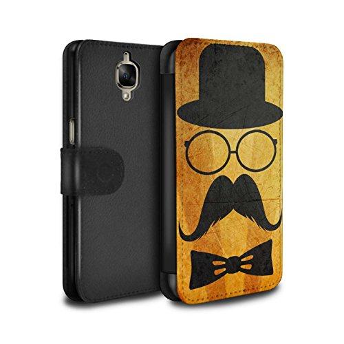 Stuff4 Telefoonhoesje Portemonnee voor OnePlus 3/3T Retro Snor Stuur/Bril Ontwerp Flip Faux PU Lederen Cover