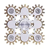 DMaos Fidget Spinner, Figity Toy, 9 Gears Linkage Smooth Metal Brass Stainless Steel with Stable Bearing, Durable Mechanics Romoveable, Gold Figit Toy for Adults Kids - Silver