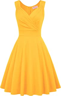 Belle Poque Women's 1950s Sleeveless V Neck Vintage Cocktail Dress for Party