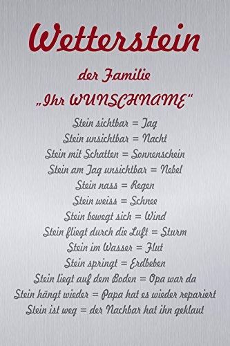 Melis Folienwerkstatt Schild - Wetter-Stein Familie - 45x30cm | | Bohrlöcher | 3mm Aluverbund – S00352-002 20 VAR