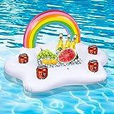 Sunshine smile Aufblasbarer Regenbogen Coasters , Aufblasbarer Getränkehalter Regenbogen, Wolke Getränkehalter , Wasser Spaß Dekoratione, mit 4 Getränk Löchern u. 1 rechteckiger