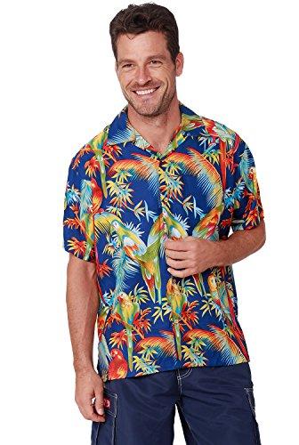 Men's Hawaiian Shirt Button Down Casual Aloha Short Sleeve Beach Shirts (Blue Parrot, XX-Large)