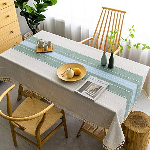 LYDCX Algodón Nórdico Japonés Color Sólido Mantel Mesa De Centro Moderno Minimalista TV Gabinete Cubierta Tela Enrejado Escritorio Azul Verde Barra 130X200Cm