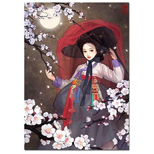 Puzzle 1000 Piezas Pintura Decorativa niña Coreana Regalo de Flor de Cerezo. Puzzle 1000 Piezas educa Gran Ocio vacacional, Juegos interactivos familiares50x75cm(20x30inch)