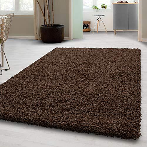 Teppich Hochflor Shaggy Teppich Unicolor einfarbig Teppich farbecht Braun, Maße:60 cm x 110 cm