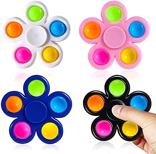 SLINGDA 4pcs Fidget Spinner Pops Spinners Jouets ,Simple Rotation Dimple Jouet Sensoriel,Anti-Stress et Anti-Anxiety Transport Facile pour TDAH Autisme Les Enfants Adultes