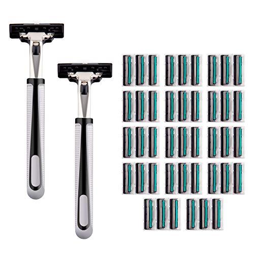 MASCARRY Blade Razor System for Men with 42 Shaving Razors & 2 Razor Handle