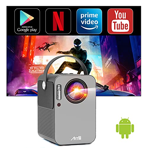 Artlii Play Smart Projector, Android TV 9.0 Portable Projector, WiFi Bluetooth Projector with Built-in Netflix, Disney+, Hulu, 1080p Support Projector, ±45°4D Keystone Correction, HiFi Stereo