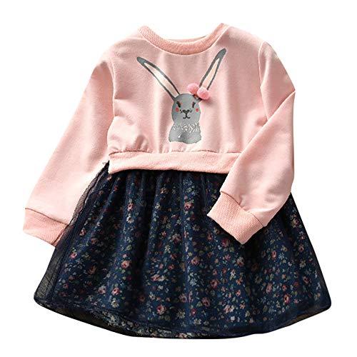 Fenverk 2Pc Baby MäDchen Kleider Prinzessin Dresses BlumenmäDchenkleid Taufkleid Festlich Hochzeit Partykleid Festzug Babybekleidung Kleid + Tasche(Rosa,90)