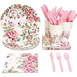 Floral Party Supplies with Paper Plates, Napkins, Cups and Plastic...