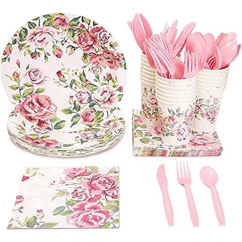 Floral Party Supplies, Paper Plates, Napkins, Cups and Plastic Cutlery (Serves 24, 144 Pieces)