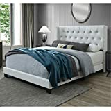 DG Casa Bardy Upholstered Panel Bed Frame with Diamond...