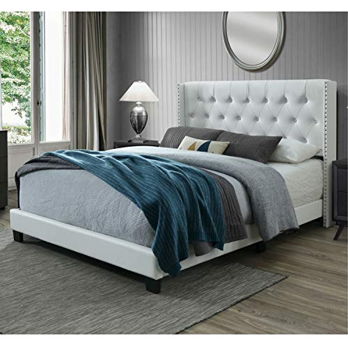 DG Casa Bardy Diamond Tufted Upholstered Wingback Panel Bed Frame, Queen Size in White Faux Leather