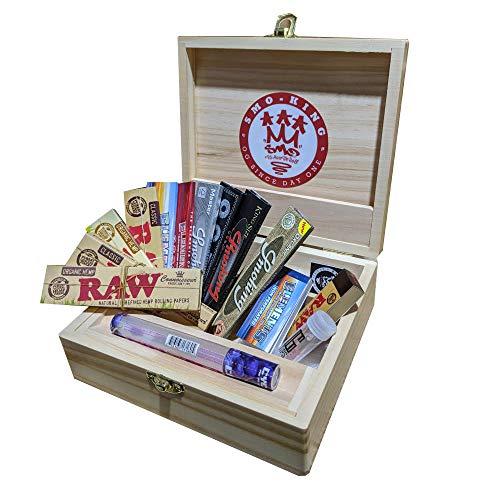 Rolling Supreme massive Kiefer-Box,Geschenkset von Smo-King, zum Zigarettendrehen, Größe T3