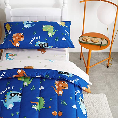 Uozzi Bedding 4 Piece Colorful Dinosaurs Toddler Bedding Set with Orange Yellow Green Blue Monster Boys Bed Comforter Sheet Set