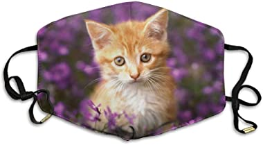 BOKUTT Adjustable Face Cover Dustproof Masks,Orange Tabby Cat Reusable Anti Dust Comfort Polyester Breathable-able,Warm Windproof