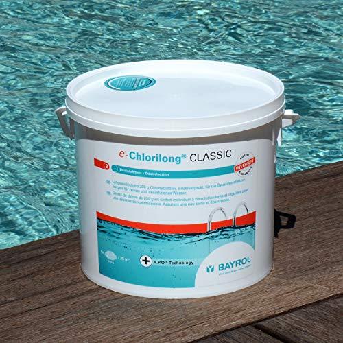 BAYROL e-Chlorilong® CLASSIC – langsamlösliche 200 g Chlortabletten zur Dauerdesinfektion - Aktivchlorgehalt 92 % - alle Filterarten - kalkfrei & pH-neutral - hygienisch reines Poolwasser - 5 kg