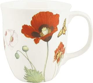 Carmani CR-MC0303, 15 Oz Fine Porcelain Coffee Mug, Poppies Java Collection Ceramic Tea Cup