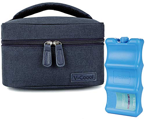 Breastmilk Cooler with Ice Pack Healthy Baby Daycare Set - Keep Food Warm or Cool for Go Out Lunch Bag-Large Capacity Storage for 6 Breastmilk Bottles in 5oz Bottle Tote Bags,Blue