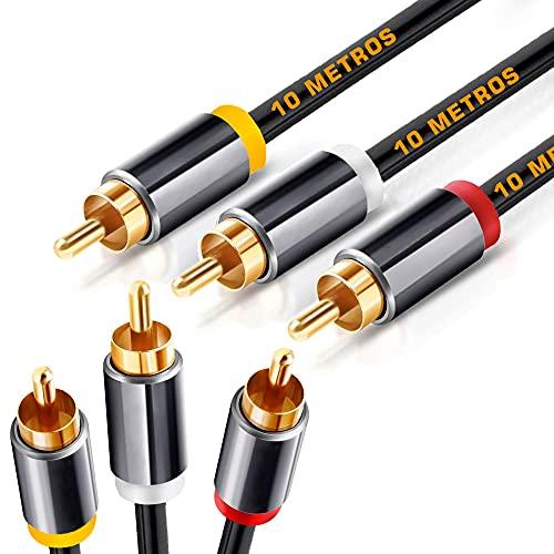 Cable RCA de 10 metros, Cable 3 RCA a 3 RCA con Sonido HiFi Estéreo, Vídeo, Cable Compatible con Amplificador, Subwoofer Home Cinema, Altavoz, Reproductor de CD/DVD, HDTV, Mesa de Mezclas, 10 Metros