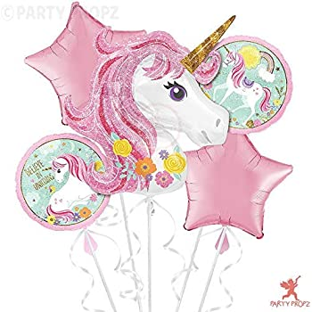 Party Propz Big Size Magical Unicorn Balloon Bouquet 5pc /Birthday Decoration for Girls / Unicorn Balloon Set for Kids