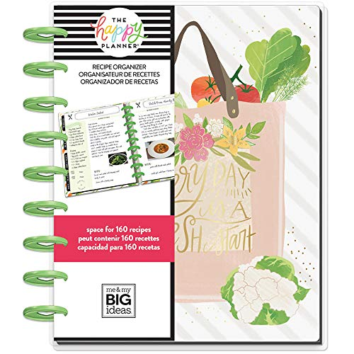 me & my BIG ideas The Happy Planner - Foodie (Recipe Organizer) Theme - 8 Month Undated - Recipe Layout - Holds 160 Recipes, 10 Grocery Lists, 8 Dividers and Quick Cooking Guide - Classic Size