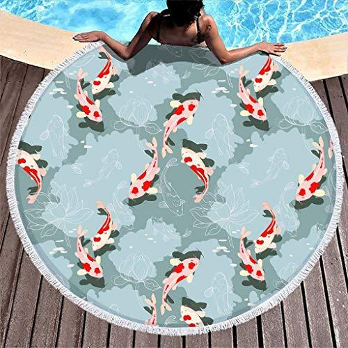 Yzanswer Cobija de playa redonda transpirable con peces Koi Japón para niños o adultos, color blanco 150 cm