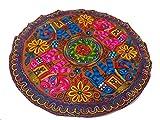 India colors. Mantel Mesa Exclusivo hindú (Redondo), Decorativo, Tapiz Pared. Hecho a Mano en India. Bordadas con Incrustaciones. Primera Calidad. (Tono 4)