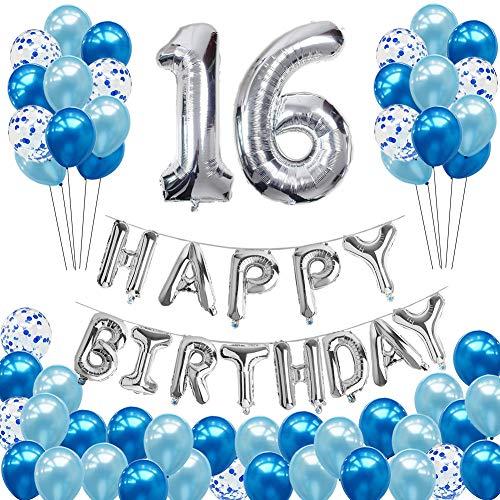 Toupons 16 Geburtstag Dekorationen für Jungen und Mädchen, Geburtstagsdeko Blau 16th Happy Birthday Banner Folienballon Konfetti Luftballons Deko Geburtstag Party Supplies