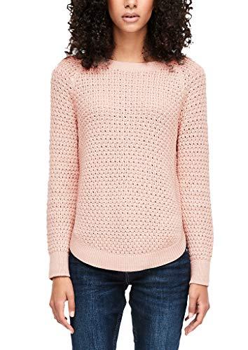 Q/S designed by - s.Oliver Damen Lochstrick-Pullover mit rundem Saum Mellow pink L