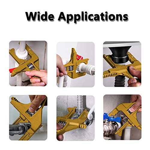Adjustable Wrench 6-75mm Short Shank Large Opening Ultra-thin Bathroom Wrench, Lightweight Aluminum Alloy Spanner - for Plumbers Repair Tight Spaces Sink Nut Disassembly, Washbasin, Faucet (Gold)
