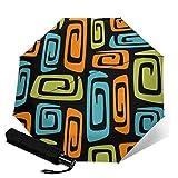 Cosmic Abstracto Negro Verde Azul Y Naranja Plegable Automático Tres Pliegues Paraguas Compacto Paraguas Ligero Sol Y Lluvia