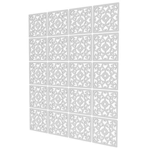 Separador Ambientes Interior de 20 Piezas - 117.5x147cm - Blanco Panel Separador Ambientes Hermoso Patrón Biombo Interior para Cocina, Despensa, Escritorio, Estantería, Armario