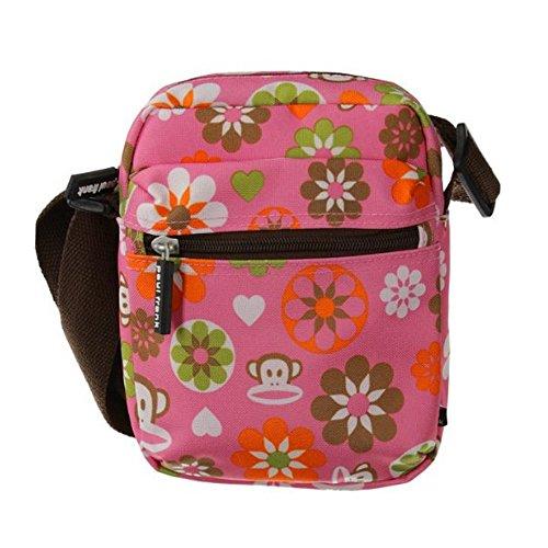 Paul Frank Umhängetasche Schultertasche Shoulder Bag Messengerbag mit Retro Blumen Motiv in Rosa