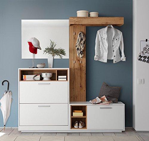 lifestyle4living Kompaktgarderobe, Garderobe, Set, Garderobenpaneel, Flurgarderobe, Garderobenmöbel, Dielenmöbel, Flurmöbel, Wandgerderobe, weiß, Wildeiche-Nachbildung