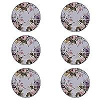クリエイティブトップス5242048-6プレートのセット、ホワイト/淡いピンクの花、グレーグレー