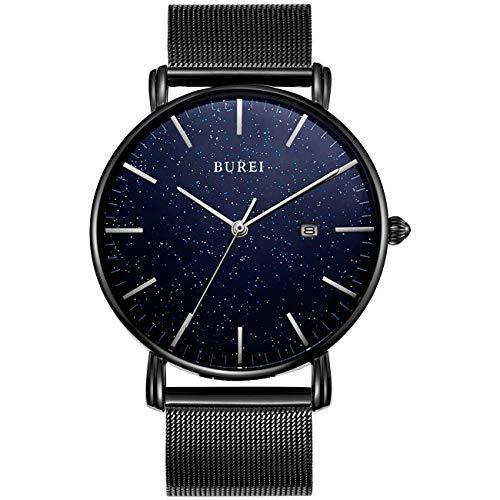 BUREI Herren Minimalistische Quarzuhr Mode schwarz Gehäuse Unqiue blau Sternenzifferblatt Datumsanzeige mit schwarzem Edelstahlband