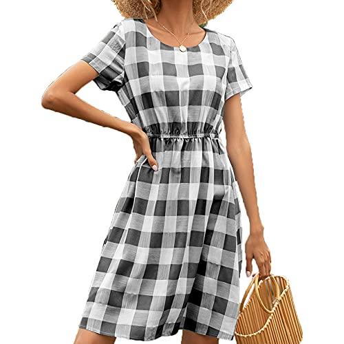 XYJD FrüHling Und Sommer Damen Casual Pullover Rundhals Plaid Print Lose Kurzarm Kleid Damen