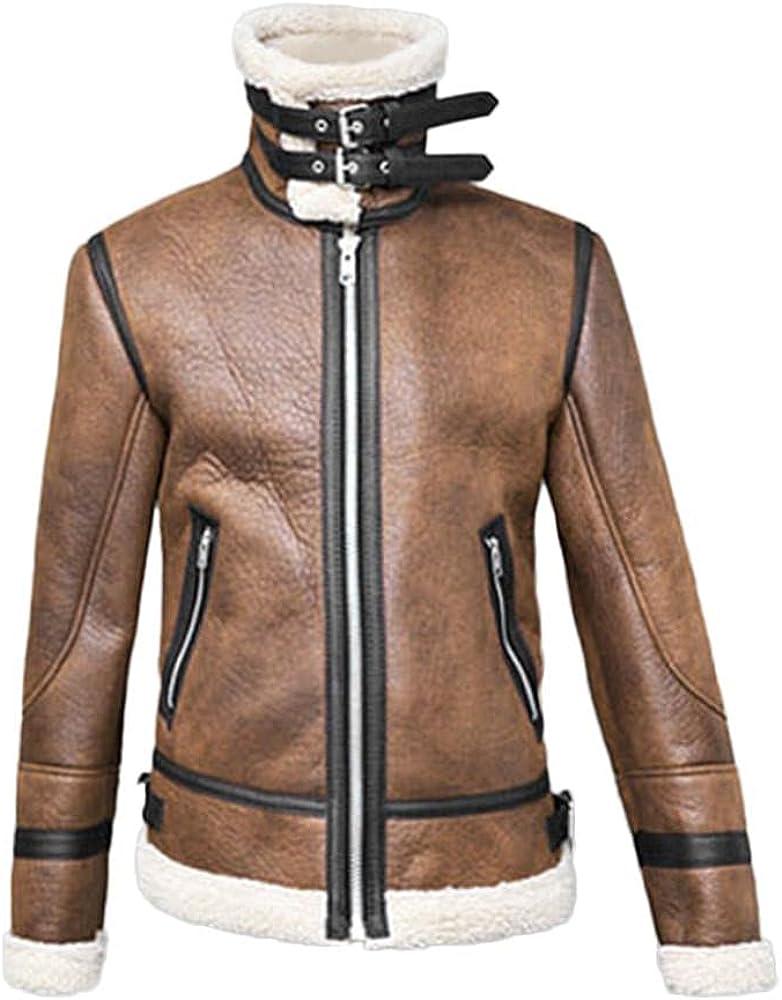 Men Winter Outwear Jacket Casual Long Sleeve Highneck Warm Fur Liner Lapel Leather Zipper Top Coat