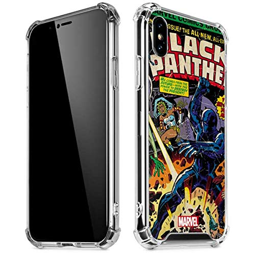 Skinit Clear Phone Case Compatible with iPhone X/XS - Officially Licensed Marvel/Disney Black Panther vs Six Million Year Man Design