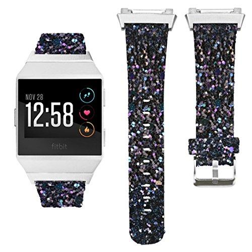 NEO+ Fitbit Ionic band, lederen glitter bling polsband band band voor Fitbit Ionic Smartwatch activiteitstracker (glitter zwart)